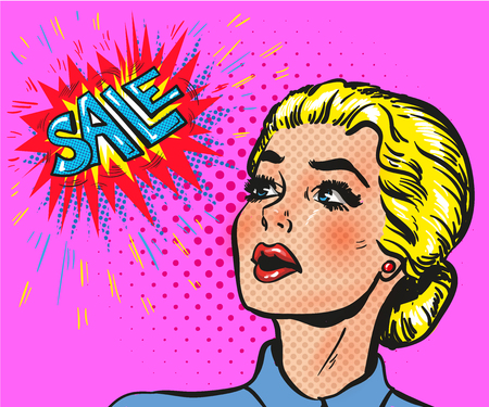 girl mouth open: Wow pop art comic female face blond with sale speech bubble Illustration