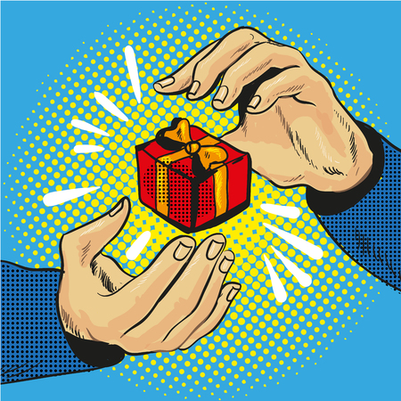 Gift box in hand with golden bow and ribbons pop art comic style