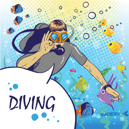 Diver under water with aqualung pop art style vector illustration. Human illustration. Comic book style imitation. Vintage retro style. Conceptual illustration