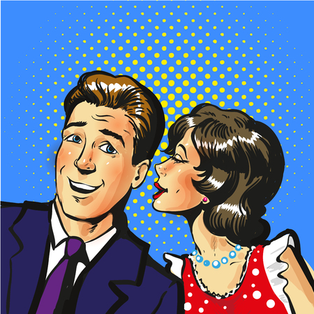 flirting: Man and woman whisper pop art vector illustration stock Illustration