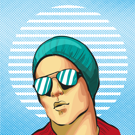 Guy young handsome fancy in hat and sunglasses halftone background vector Çizim