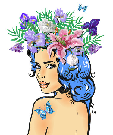 Beautiful girl with butterfly and flower wreath looking back vector