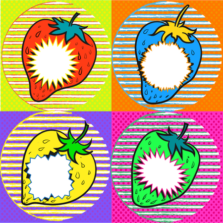 Pop art strawberry with speech bubbles art stock Illustration