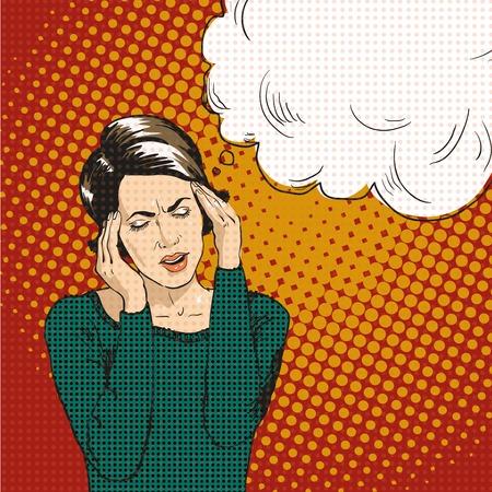 Woman in pop art retro comic style. Woman Oh emotional reaction speech bubble