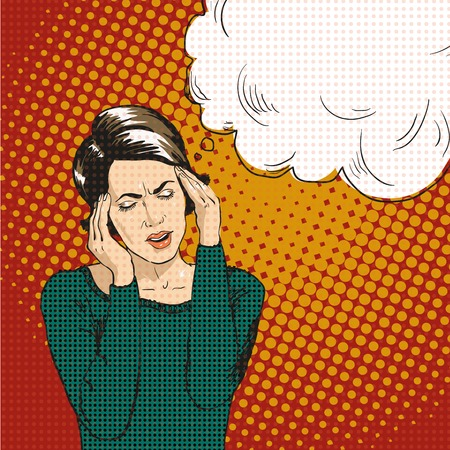 Woman in pop art retro comic style. Woman Oh emotional reaction speech bubble