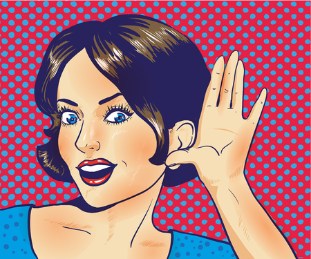 Woman with surprised face listening to a whisper. Vector illustration in pop art retro comic style. Halftone effect background.