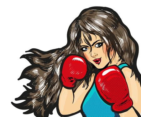 Girl boxing pop art comic stock vector isolated
