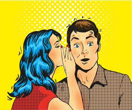 Man en vrouw gefluister pop art vector illustratie voorraad
