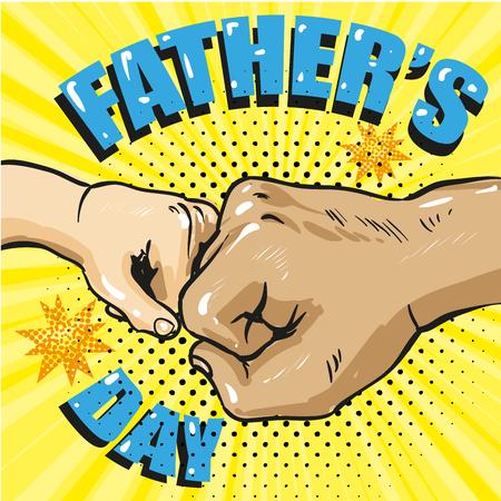Plakat dzień szczęśliwy ojców w stylu retro komiks. Ilustracja wektorowa sztuki pop. Ojciec i syn uderzają pięścią w kolbę