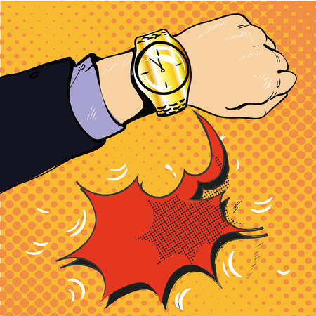 Wrist watch show now pop art style vector illustration. Comic book style imitation stock