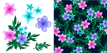 patchwork: Spring background with flowers, ladybugs and leafs. Illustration