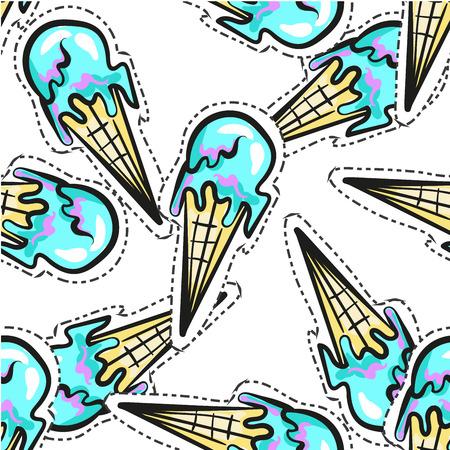 Ice cream vector seamless pattern stocker pop art style