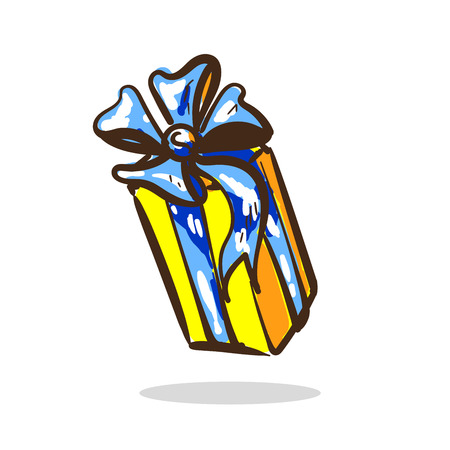 Cartone animato regalo a sorpresa colore giallo con nastro azzurro e fiocco
