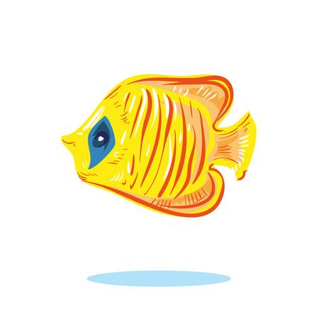 Cute cartoon yellow fish character hand drawn vector illustration Illustration
