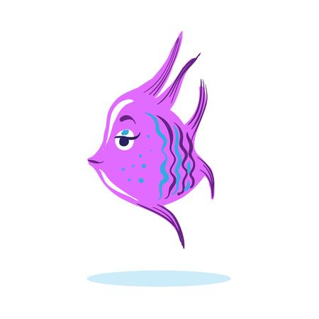 Cartoon cute serious face fish Marine Character isolated vector