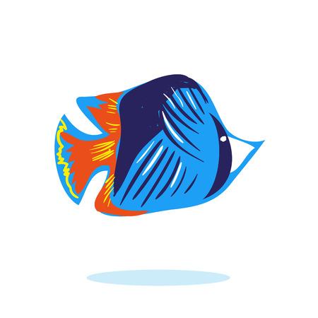 Cute cartoon fish character mascot vector isolated Stock Photo