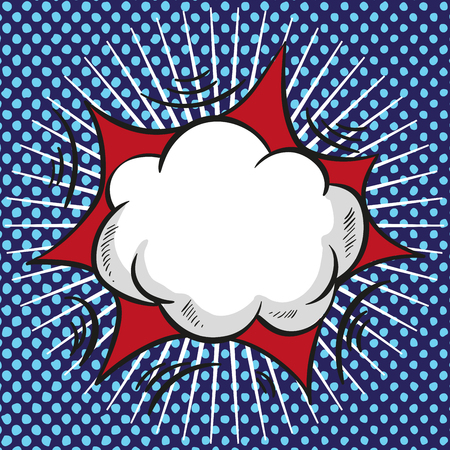 Comic speech cloud with red explosion and rays