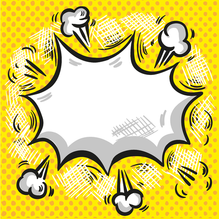 Comic speech cloud with smoke explosion and rays on halftone yellow background