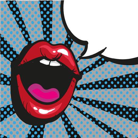 Komische lippen schreeuwen Speech Bubble Pop Art On Dot zwarte achtergrond Vector illustratie voorraad