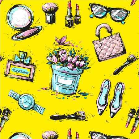Schets vrouwelijke mode accesorize naadloos patroon op gele achtergrond Stock Illustratie