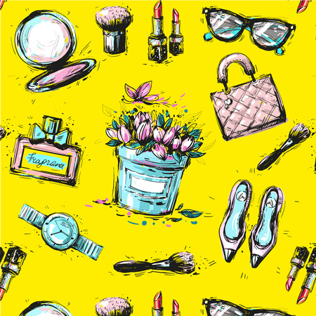 Sketch female fashion accesorize seamless pattern on yellow background