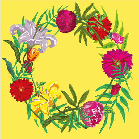 contemporary spring floral design with yellow abstract flowers. modern geometry vector illustration. stylish surface design for cards, poster, web banners, header and book cover Illustration
