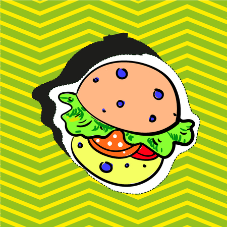 Fashion patch badge pin sticker with burger pop in art style illustration.