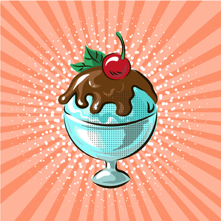 Ice cream in glass chocolate flavour pop art hand drawn vector illustration