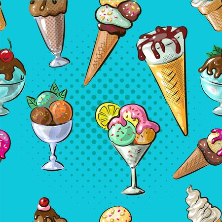 Ice cream seamless pattern stock vector illustration.