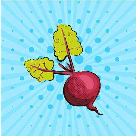 Ripe beet on blue background lines, dots. Hand drawn in style pop art. Vector illustration. Eco food vegetables