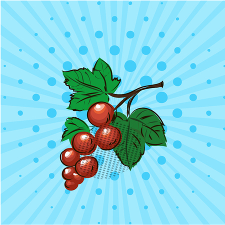 Red currant on a blue background,line,dots. Vector illustration. Hand drawn on style pop art. Eco food