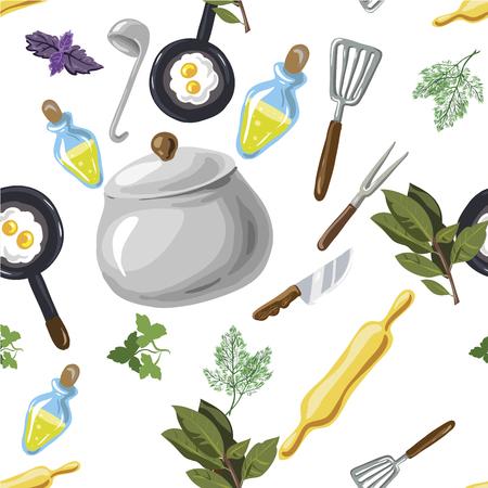 Kitchen utensils seamless pattern. Hand drawn pop-art cartoon style. Vector illustration Illustration