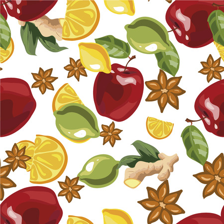 Vector illustration of a seamless pattern spices and ingredients for mulled wine.