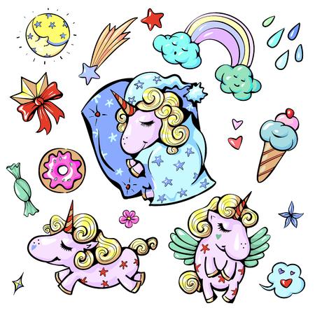 Cute baby unicorn vector illustration in pastel rainbow colors. Illustration