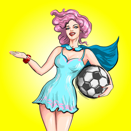 Pin up style vector hand drawn illustration sexy cartoon girl holding soccer ball and welcoming inviting guesture