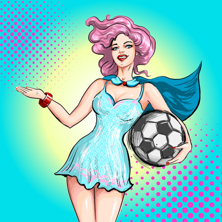Cheerleader pop art comic style. Beautiful girl from the support group holding ball and inviting gesture welcoming to game Illustration