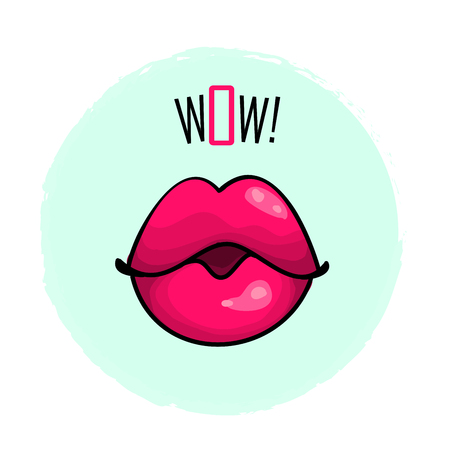 Lips pink color with word wow fashion print vector illustration isolated on white.
