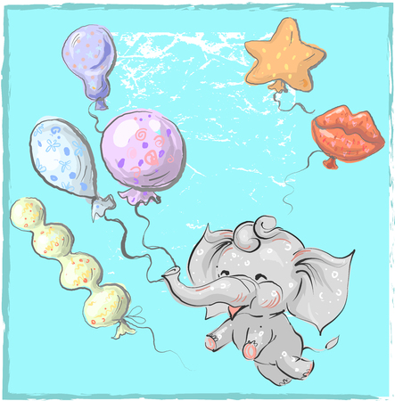 Cute elephant with balloon hand drawn vector illustration. Can be used for t-shirt print, kids wear fashion design, baby shower invitation card. Illusztráció