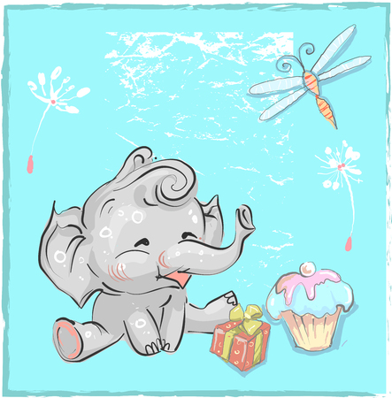little lovely elephant birthday with dragonfly and cake for prints cards t-shirts baby shower invitation
