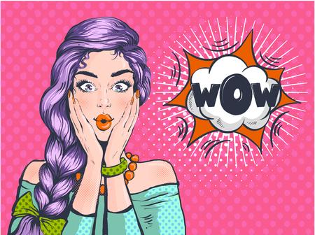 Wow Pop Art überraschte Frau schönes Gesicht mit offenem Mund und hellviolettem Haar auf gepunktetem Hintergrund. Komische Frau mit Sprechblase. Vektorillustration.