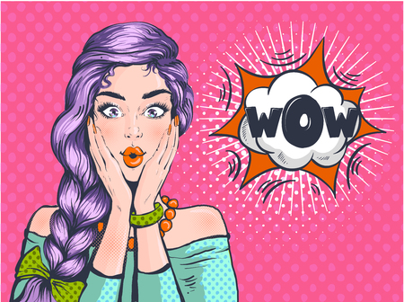 Wow Pop art surprised woman beautiful face with open mouth and bright violet hair on dotted background. Comic woman with speech bubble. Vector illustration.