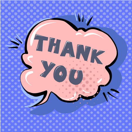 Thank you cute retro cartoon comic style speech bubble with halftone design background