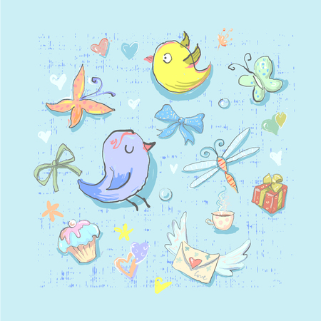 Collection Set of Cute Birthday Party Themed Birds and different elements hand drawn directly in vector