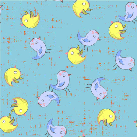 Cute funny birds seamless pattern hand drawn in Vector