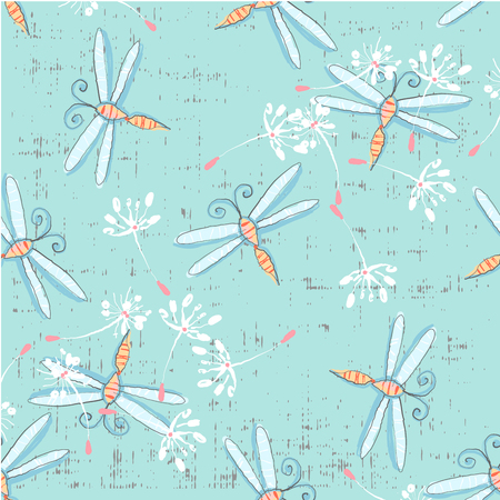 Cute seamless pattern with dragonflies and dandelions hand drawn in vector on blue background Ilustração
