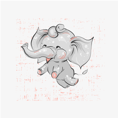 Cute elephant flying hand drawn vector illustration. Can be used for t-shirt print, kids wear fashion design, baby shower invitation card. Stock Illustratie