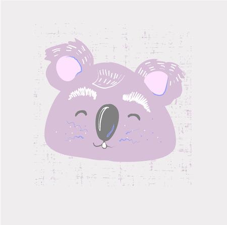 Cute coala face. Childish print for nursery, kids apparel,poster, postcard. Vector Illustration