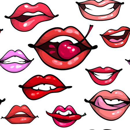 Female lips seamless pattern. Mouth with cherry pepper biting, smile, tongue, teeth on white bakground