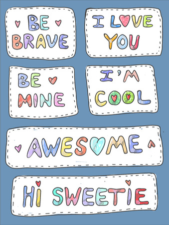 Modern cute colorful patch set on white background. Fashion patches of motivation phrases. Cartoon 80s-90s style. Vector illustration