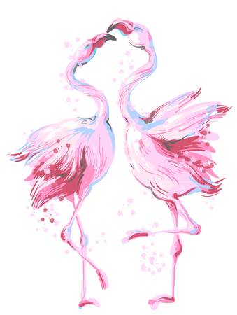 Two pink flamingos dancing in honeymoon, making love, vector hand drawn illustration isolated on white background